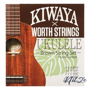 【WorthKIWAYA】 K-BM フロロカーボン弦 セット (オールサイズ対応 ウクレレ弦 ブラウン)|nitzeshop