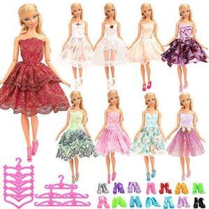 Barwa バービー用ドレス 30枚セットランダム10枚バービー用ドレス 10足靴 10枚ハンガー バービー人形用服|nitzeshop