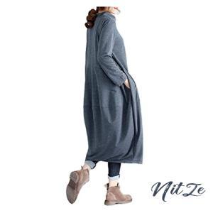 [1/2style (ニブンノイチスタイル)綺麗め 長袖 ジャージ 体型 カバー バルーン ワンピース レディース nitzeshop