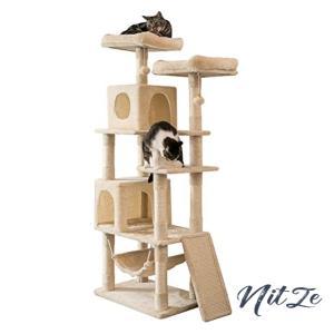 MUZII キャットタワー 猫タワー 麻紐 スロープ付き ハンモック ストレス解消 165cm 匂いなし 048A|nitzeshop