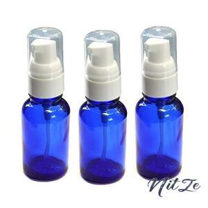 Aroma Gift 日本国産のプッシュポンプ青3本 30ml 空ボトル容器 ジェル状と液体どちらも対応 アロマや消毒用エタノ|nitzeshop