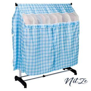 アストロ ハンガーラックカバー 横まですっぽり ブルー チェック柄 幅(最大)117120cm ポリエステル 洗える ズレ防|nitzeshop