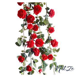 Kugusa バラ ガーランド 造花 シルク フラワー 装飾 インテリア スワッグ パーティー (赤・レッド)|nitzeshop