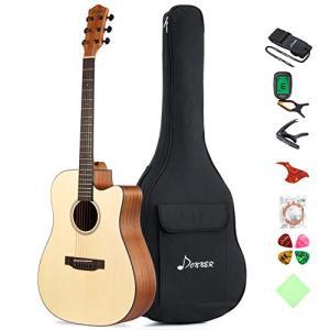 Donner DAG-1C アコースティックギター カッタウェイ 右利き 初心者セット (ソフトケース&チューナー付き) (41イン|nitzeshop