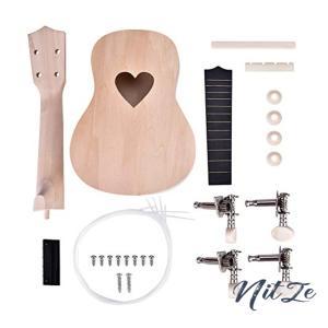 4弦ウクレレ DIYキット 手作り楽器 21インチ 自由研究 学校 自由工作 贈り物 楽器アクセサリー(心形)|nitzeshop