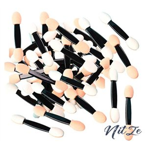 Sweet スポンジチップ アイシャドウブラシ アイライナー 使い捨て 化粧品 メイクブラシ ダブルエンド 携帯 100本|nitzeshop