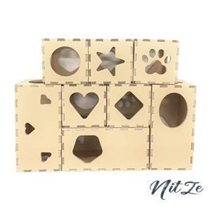 【組み合わせは自由自在】キャットタワー 安心の国産ダンボール 猫ボックスハウス 猫おもちゃトンネル タチ|nitzeshop