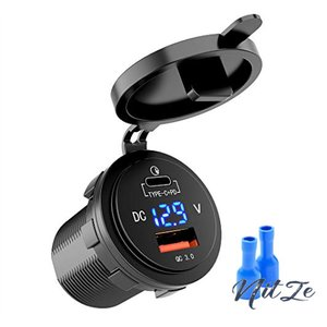 MICTUNING カーチャージャー Quick Charge 3.0 USB Type-C PDポート LEDデジタル 電圧計 急速充電 12V/24V USB車載充電器 シガー|nitzeshop