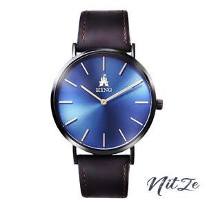 KINGWATCH(キング)腕時計 うで時計 メンズ 極薄6.5 防水 40mm文字盤 本革バンド 日本製クオーツ 時計|nitzeshop