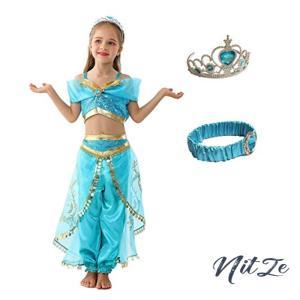 (eones style)ジャスミン衣装 子供用 アラビアン プリンセス ドレス ダンス衣装 コスチューム 4点セット (110cm)|nitzeshop