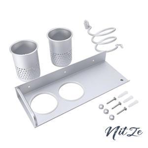 多機能壁掛け ヘアドライヤー ホルダー 浴室収納ラック アルミ製 2つのカップ付き 高耐荷重 お風呂 バス用品|nitzeshop