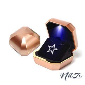 iSuperb 八角宝石形 ゴールデン ペンダントボックス LED 指輪 イヤリング ネックレス ブレスレット 収納 サプライ nitzeshop