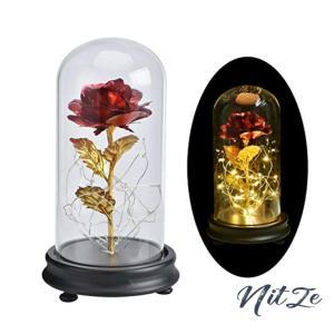 Bosixty バラ LED 造花 ライト ガラスカバー 24Kゴールドメッキローズフラワー LEDストリングライト付きギフト 誕生|nitzeshop