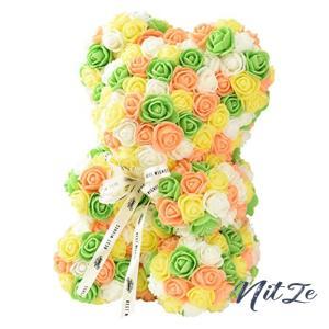 ローズ ベアー カラフル フラワー くま ぬいぐるみ 薔薇 造花 枯れない 花 バラ 母の日 クリスマス プレゼント|nitzeshop