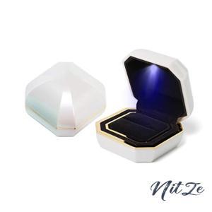 iSuperb 八角宝石形 ゴールデン リングボックス LED 指輪 イヤリング ネックレス ブレスレット 収納 サプライズ プ nitzeshop