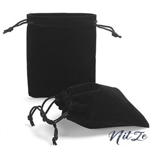 アクセサリーの保存・プレゼント用ポーチ ベロア調巾着袋 Sサイズ ブラック5枚セット nitzeshop