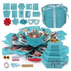 サプライズボックス かわいいブルーボックス クリスマスギフト 爆発ボックス DIY手作りボックス 彼女 彼氏誕生|nitzeshop