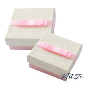 moin moin ラッピング ギフトボックス 10個セット ピンクホワイト  蝶結び リボン 高級 方形 ジュエリー ボックス nitzeshop