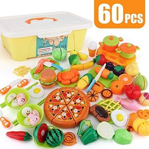 SONi 60点 おままごとセットごっこ遊び 切れる野菜 魚 果物 おままごと キッチン お茶碗 お箸 収納ボックス 知育 nitzeshop