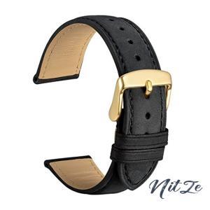 [WOCCI]時計ベルト16mm替えベルト スエード 本革腕時計バンド 黒 ゴールドバックル|nitzeshop