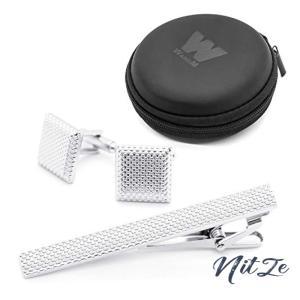 [ダブリューアンドエム] ネクタイピン カフス ボタン フォーマル シンプル セット タイピン 携帯用ミニポーチ nitzeshop