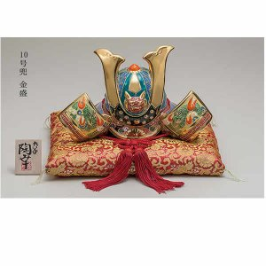 五月人形 伝統工芸品 九谷焼10号兜飾り(房付き)「金盛」陶...