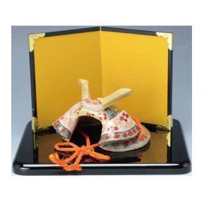 【伝統工芸・京焼】かぶと 置物 (屏風・黒台付き)瑞光作・・・ 端午の節句 初節句 お祝い ギフト  五月人形|niwa-company