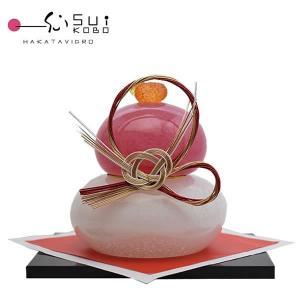 ■粋工房 紅白ガラスの鏡餅 博多びーどろ 正月飾り 一つ一つ型を使わずに製作されたガラス製の鏡餅です...