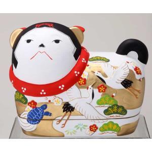 須はら飾り 錦彩犬筥 鶴亀(大・右) ・・・出産祝・結婚祝・...