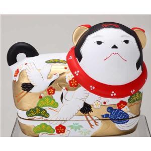 須はら飾り 錦彩犬筥 鶴亀(大・左) ・・・出産祝・結婚祝・...