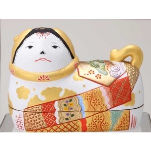 須はら飾り 錦彩犬筥 (大・右) 白 ・・・出産祝・結婚祝・雛祭り・桃の節句・長寿祝・新築祝・誕生日祝 niwa-company