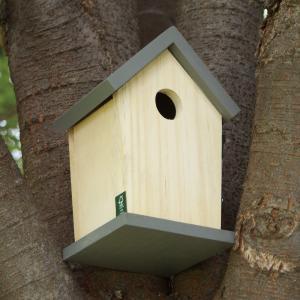 バードハウス −グレー− (鳥 野鳥 巣箱 鳥小屋 バードウォッチング 庭 ガーデニング 木製 かわいい)