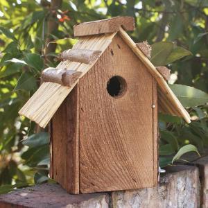 飾りバードハウス わら屋根のバードハウス (鳥 野鳥 巣箱 鳥小屋 バードウォッチング 庭 ガーデニング 木製 かわいい)