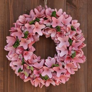 ナチュラルリース −ピンクビーズ− 33cm (リース 花 バラ 玄関 おしゃれ 春 インテリア 壁掛)