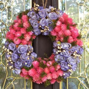 ナチュラルリース −パープルローズピンクモケ− 33cm (リース 花 バラ 玄関 おしゃれ 春 インテリア 壁掛)