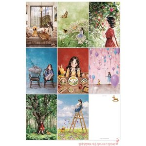 韓国 かわいいグッズ『エポルさんの 森の少女 イラストはがき 8枚セット』アップル aeppol 森少女|niyantarose