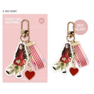 韓国 かわいいグッズ『エポルさんの 森の少女 アクリルキーリング レッドハート』アップル aeppol チュ・ソジン 森少女|niyantarose