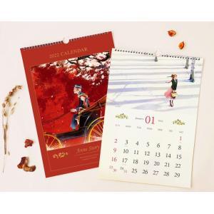 【2021年10月始まり】2022年 韓国版 カレンダー 赤毛のアン ( 壁掛け / A3 )(キム・ジヒョク:美しい古典シリーズ) レッド|niyantarose