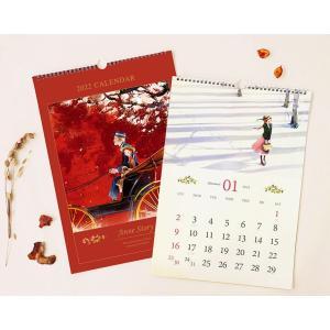 【2021年10月始まり】2022年 韓国版 カレンダー 赤毛のアン ( 壁掛け / B4 ) (キム・ジヒョク:美しい古典シリーズ) レッド|niyantarose