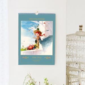 【2021年10月始まり】2022年 韓国版 カレンダー 赤毛のアン ( 壁掛け / B4 ) (キム・ジヒョク:美しい古典シリーズ) ブルー|niyantarose