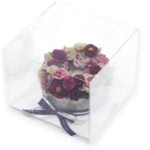 透明 ケーキ箱 ボックス BOX ホワイトの台紙つき 1号 (ばら売り:1枚) 21×21cm 高さ17cm niyantarose