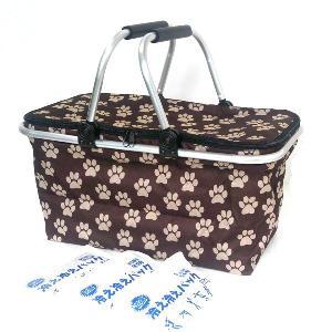 ピクニック保冷バスケット買い物かご 30L バッグ 肉球アニマルスタンプ柄 ブラウン 保冷剤300gが3個付き!|niyantarose