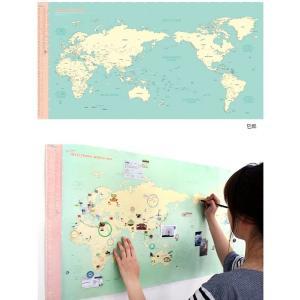 世界旅行地図 デコ・トラベル・ワールドマップ ミントブルー|niyantarose