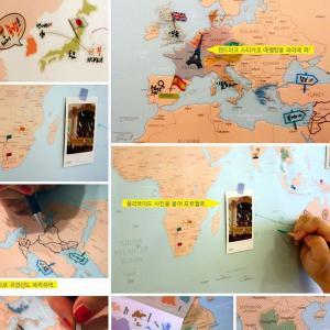 世界旅行地図 デコ・トラベル・ワールドマップ ミントブルー|niyantarose|03