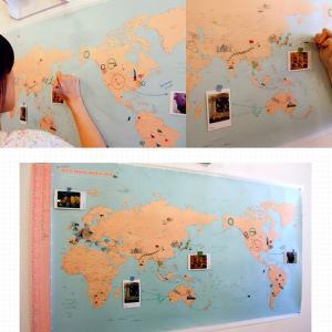 世界旅行地図 デコ・トラベル・ワールドマップ ミントブルー|niyantarose|04