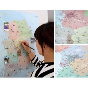 壁掛け 韓国地図 デコ・トラベル・コリアマップ カラフル|niyantarose
