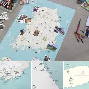 壁掛け 韓国地図 デコ・トラベル・コリアマップ ミント|niyantarose