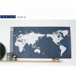 旅行世界地図 オリジナルデコ・トラベル・ワールドマップ インディゴ|niyantarose
