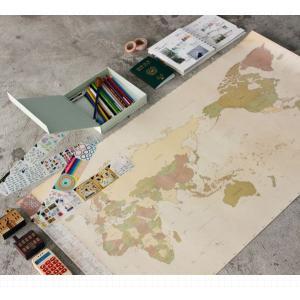 旅行世界地図 オリジナルデコ・トラベル・ワールドマップ ビンテージ|niyantarose