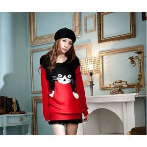【在庫限りセール特価】猫のニット♪赤色♪セーター♪かわいい♪|niyantarose